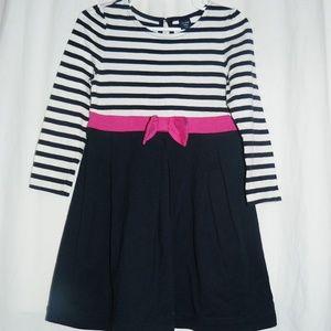 BABY GAP brand Navy, Pink & White stripe dress, 4